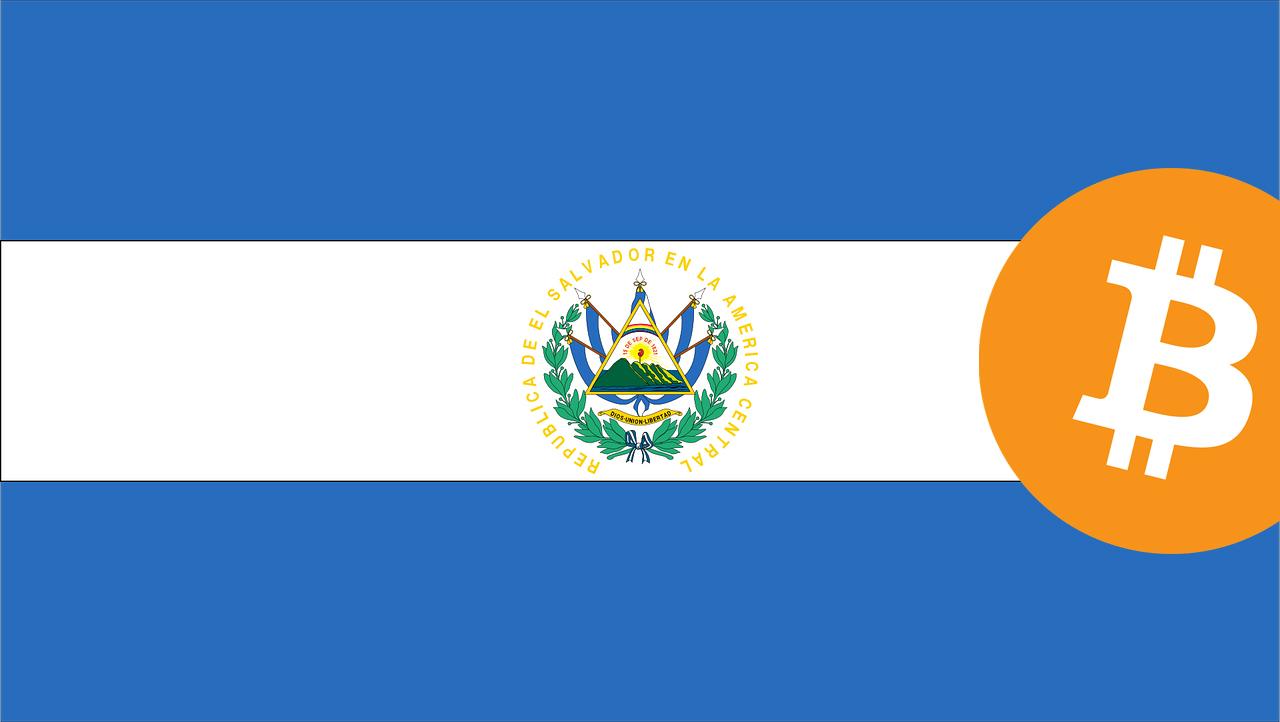 El Salavador Flag and Bitcoin logo